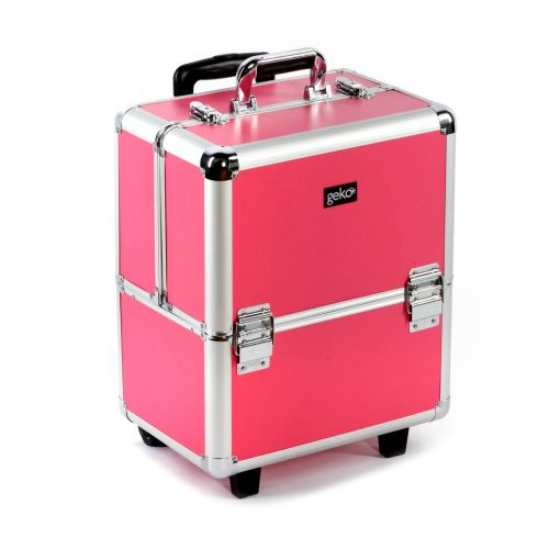 Beautician Makeup Trolley Box Pink + Silver Frame